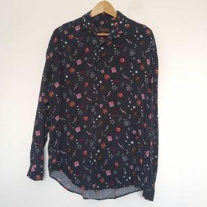 NWOT Zara Man Navy Blue Patterned Button Up Shirt